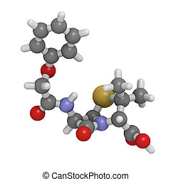 Penicillin V antibiotic molecule, chemical structure -...