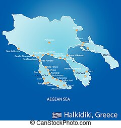 Peninsula of Halkidiki in Greece map on blue background