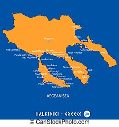 Peninsula of halkidiki in greece white map and blue vectors