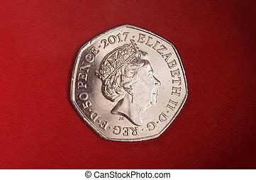 penique, 50, dedicado, moneda, rabit, beatrix, alfarero, peter, cuento