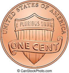 penique, uno, norteamericano, vector, centavo, moneda