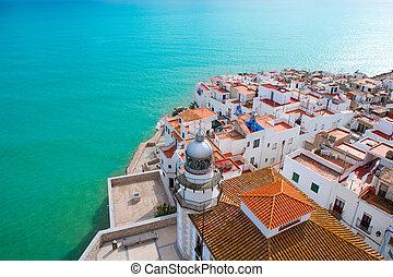 peniscola, 海滩, 同时,, 村庄, 空中的观点, 在中, castellon, 西班牙