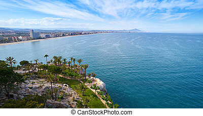 Peniscola aerial beach village in Castellon