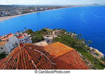 Peniscola aerial beach village in Castellon