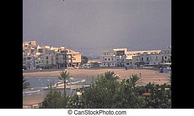 cityscape panorama of Peniscola from top view. Historical Peniscola sea town of Spain in 1970s. Town called the Gibraltar of Valencia, and The City in the Sea.