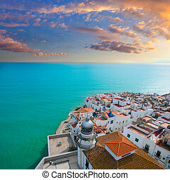Peniscola beach and Village aerial view in Castellon Spain -...