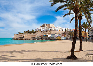 Peniscola Castle and beach in Castellon Spain - Peniscola...