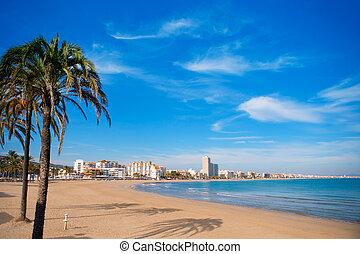 peniscola, tengerpart, alatt, castellon, spanyolország