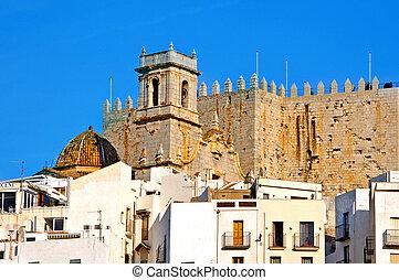 Peniscola, Valencia, Spain - A view of Peniscola Castle, in...