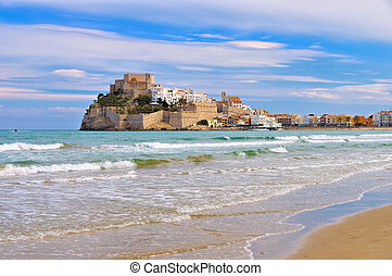 Peniscola village,view with white houses and old castle,Spain