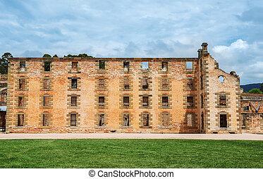 penitenciaría, arthur, edificio, puerto, australia, tasmania