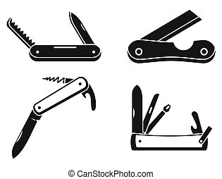 Penknife cutter icons set, simple style
