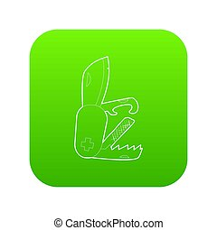 Penknife icon green