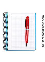 penna, anteckningsbok, ark, tom