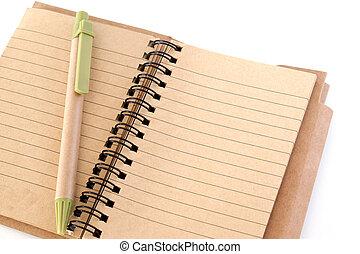 penna, anteckningsbok