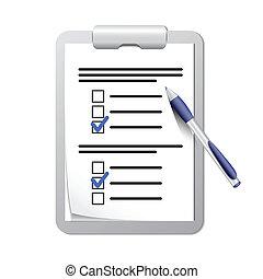 penna, appunti, elenco, assegno