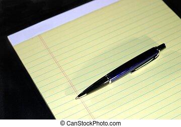 penna, blocco note, aiuto