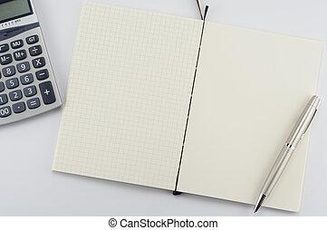 penna, blocco note, aperto, calculator.