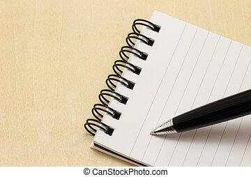 penna, blocco note, scrittura