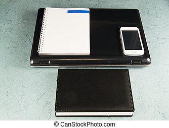 penna, blocco note, spazio, laptop, telefono cellulare, copia