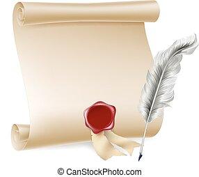 penna, cera, rotolo, penna, sigillo