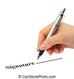 penna, contratto, mano