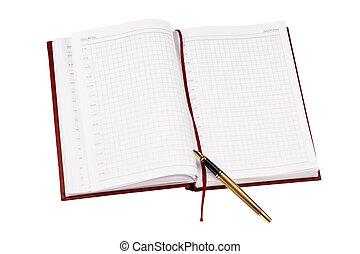 penna, dagbok, &