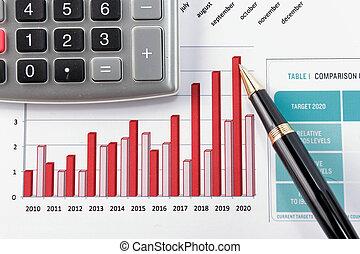 penna, esposizione, diagramma, su, rapporto finanziario