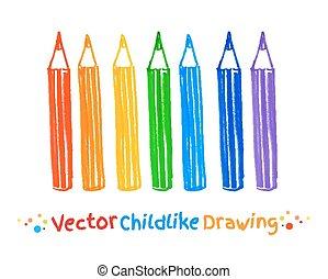 penna, feltro, disegno, infantile