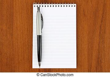 penna, fondo, legno, blocco note