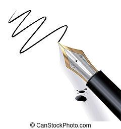 penna, fontän, skrift
