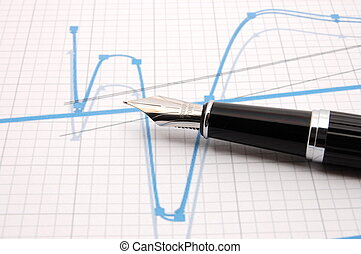 penna, fontana, grafico, affari