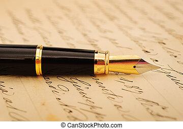 penna, fontana, lettera