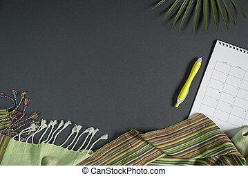 penna, leaves., sciarpa, tabletop, nero, palma, calendario