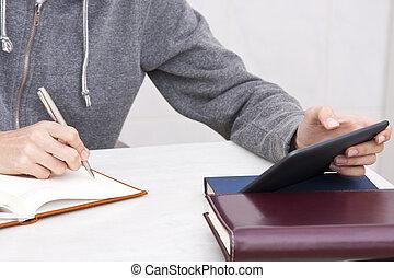 penna, mano, blocco note, scrittura