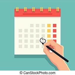 penna, mano, calendario, marchio