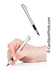 penna, maschio, inchiostro, mano