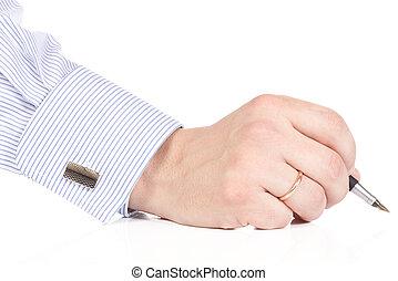 penna, maschio, tenendo mano