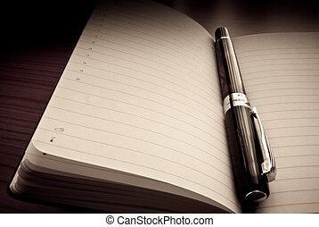 penna, på, organisatör, /, dagordning
