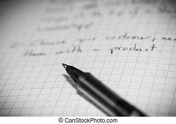 penna, på, tom, anteckning beställ