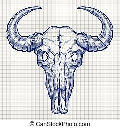 penna, palla, bufalo, schizzo, cranio