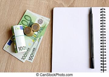 penna, pengar., kontor, bord, skrivbord, anteckningsbok
