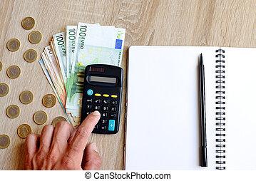 penna, pengar., räknemaskin, anteckningsbok, kontor, bord, skrivbord