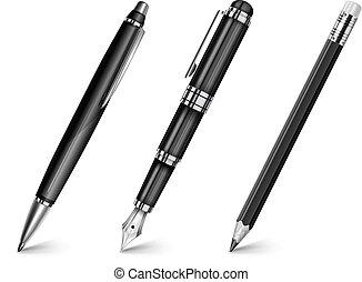 penna, penna, fontän, blyertspenna