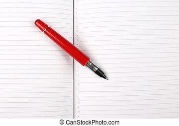 penna, quaderno, aperto, dire bugie, rosso