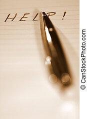 penna, sepia, aiuto