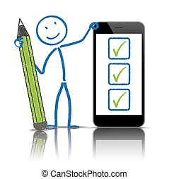 penna, stickman, lista, smartphone