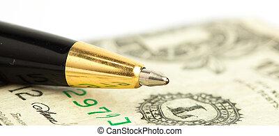 penna, su, dollaro