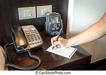 penna, telefono, presa a terra, mano