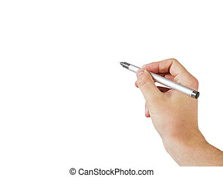 penna, tenendo mano